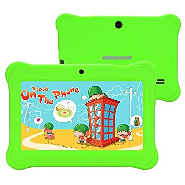 Alldaymall 7  Tablets For Kids With Wi-Fi Android Quad Core and Dual Camera, 8GB+1GB, HD Kids Edition w/ iWawa Pre-Installed Bundle with Green Kid-Proof Silicone Case