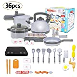 36PCS Kids Pretend Kitchen Playset Toy Kitchen Cookware Play Including Pot,Pan,Pressure,Induction Cooker with Sound ,Light,Barbecue & Food Toy Set for Toddlers ,Girl & Boys by STWIE