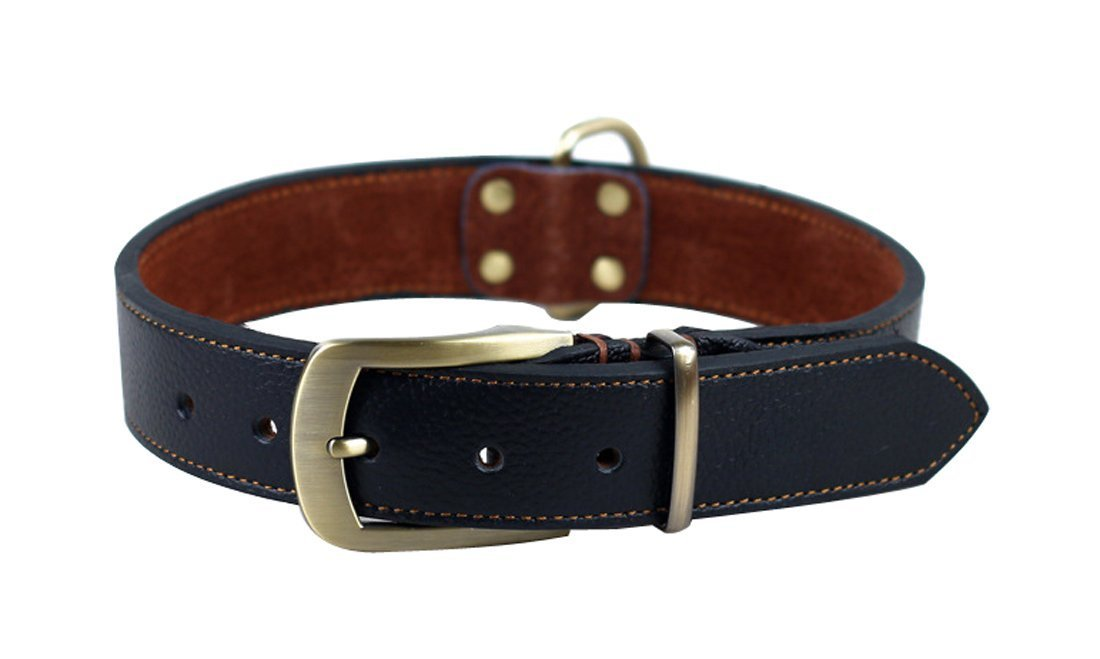 Rantow Handmade Leather Adjustable Collar for Dogs, Neck Size 43cm to 53cm and 3cm Wide, Tough Black Leather Collar for Medium Large Dogs