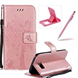 Strap Leather Case for Samsung Galaxy S6 Edge,Bookstyle Magnetic [Rose Gold Solid Color] Stand Flip Case for Samsung Galaxy S6 Edge,Herzzer Premium Elegant Butterfly Tree Cat Print Fold Wallet Folio Smart Case For Samsung Galaxy S6 Edge + 1 x Pink Cellphone Kickstand + 1 x Pink Stylus Pen
