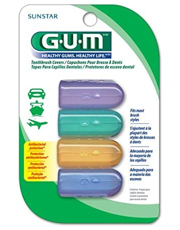 GUM Anti-Bacterial Toothbrush Covers (Pack of 1) 4 Covers per Pack,