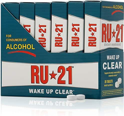 RU-21 Wake Up Clear After Drinking, Supports The Body's Ability to Metabolize Alcohol (20-Pill x 6-Pack Carton)