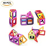 Elibeauty Magnetic Building Blocks Tiles Kit, Creative Educational Construction Eco Stacking Toys Magnetic Tile Set For Baby Kids Girls Boys (40 PCS)
