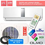 OLMO 18, 000 BTU 208-230V/60Hz, Ductless Mini Split System 15 Seer, Indoor and outdoor Set, Free Installation Kit