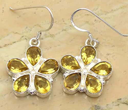 15.00ctw, 5x7 Pear Genuine Gemstones & 925 Silver Plated Dangle Earrings