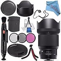 Sigma 85mm f/1.4 DG HSM Art Lens for Nikon F #321955 + 86mm 3 Piece Filter Kit + Lens Pen Cleaner + Fibercloth + Lens Capkeeper + Deluxe Cleaning Kit + Flexible Tripod Bundle
