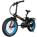 Addmotor Motan Folding Electric Bike 48V 500W Motor Ebike 20 Inch Electric Fat Tire Bicycle 10.4Ah Lithium Battery Snow Beach Electric pedal assist cruiser M-150 for Adult Men Women 4 Colors (Blue)