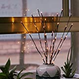 yijiamaoyiyouxia LED Willow Branch Lamp Floral Lights 20 Bulbs Home Christmas Party Garden Decor (Yellow)