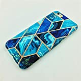 Geometric Marble iPhone 6S/iPhone 6 Case, Slim Thin Glossy Soft Flexible TPU Silicone Rubber Gel Shiny Gold Streaks Fashion Phone Case Bumper Cover for Apple iPhone 6s/iPhone 6