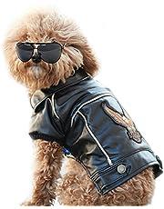 NACOCO Pu Leather Motorcycle Jacket, Dog Puppy Pet Clothes Leather Jacket, Watherproof