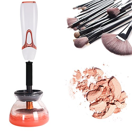 Automatic Makeup Brush Cleaner and Dryer Machine Electronic Spinning Deep Clean Brush Washing Tools with 8 Rubber Collars for All Kinds of Brushes