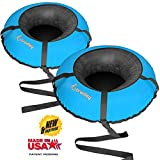 Bradley Snow Tubes with 50' Heavy Duty Cover | 2 Pack Inflatable Sledding Tubes