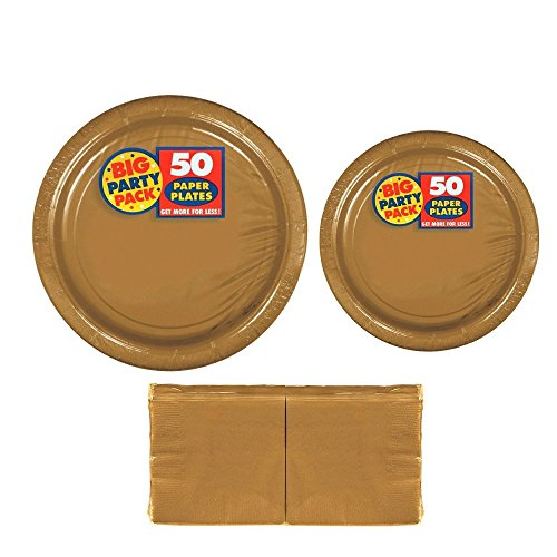 Serves 50 | Big Party Pack Gold 50-Set (Dinner Plates, Dessert Plates, Luncheon Napkins) Party Avenue Bundle-Pack | Complete Party Pack | Graduation parties, Office parties, Birthday parties, Festivals, Gold Theme