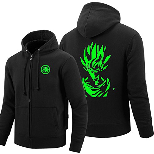 Pulle-A Anime Cosplay Dragon Ball Z Super Saiyan Goku Costume Zip Hoodie Long Sleeve Jacket GreenFluorescence Black L -