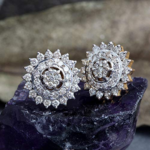1.15 Ct Diamond - 1.15Ct Diamond Floral Design Stud Pierced Earrings Halo Solid Pave 14K Yellow Gold Wedding Easter Gift's Jewelry