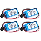 ELEOPTION 4Packs Replacement Battery PLC for Allen Bradley 1756-BA2 BR2/3A-AB 3.0V 1200mAh