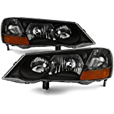 For Acura TL UA5 Chrome Clear HID-D2R Xenon Type Headlights Front Lamps Repalcement Left + Right Pair