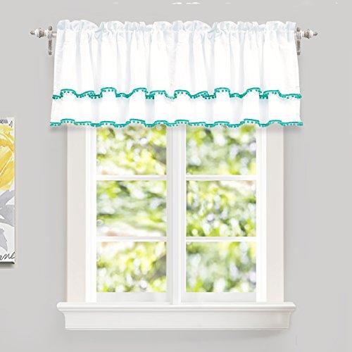 "DriftAway Pom Pom Ruffle Window Curtain Valance for Kids Room, Rod Pocket, One Panel, 52""x18"" Plus 2"