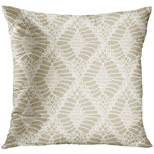 Throw Pillow Cover Boho Knitted Patterns Crochet Mesh Knitting Woven Macrame in The Bohemian Style Oriental Motifs Brocade Decorative Pillow Case Home Decor Square 18x18 Inches Pillowcase -