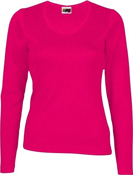 100 Mujer Larga Fucsia Manga xs Algodón Rosa Camiseta BUOvtwnxE