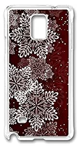 Beautiful Snowflake Illustration DIY Hard Shell Transparent Samsung Galaxy Note 4 Case Best Designed Protection By Custom Service