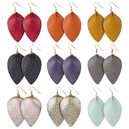 Genuine Leather Earrings Teardrop Leaf- Handmade Lightweight Drop Dangle Earrings Set for Women Girls Fashion Jewelry,Multicolors,9 Pairs