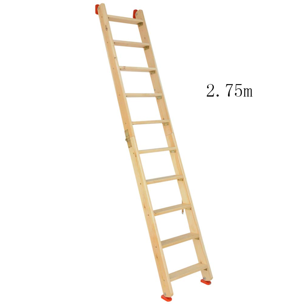 CAIJUN Ladder Multifunction Household Thicken Solid Wood Foldable Portable Safety Herringbone Ladder, 8 Sizes Dual-use (Color : Wood Color, Size : Full Length 2.75m) by CAIJUN-yizi