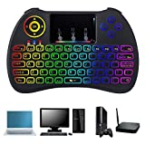 Mini Wireless Keyboard, TechKen 3 in 1 2.4GHz Wireless Touch Keyboard with LED Rainbow Backlight Use for Windows, Android, Smart TV and Mac