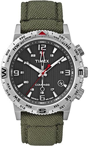 Timex Intelligent Quartz T2P286 Mens Compass Green Fabric Strap Watch