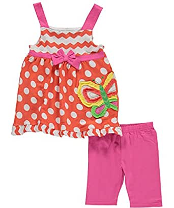 """Nannette Little Girls' Toddler """"Dots & Butterfly"""" 2-Piece Outfit - orange/pink, 4t"""