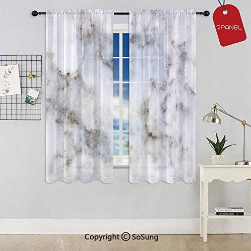 (Rock Pattern Limestone with Stain Traces Surface Artistic Authentic Design Rod Pocket Sheer Voile Window Curtain Panels for Kids Room,Kitchen,Living Room & Bedroom,2 Panels,Each 42x54 Inch,Dust Grey)