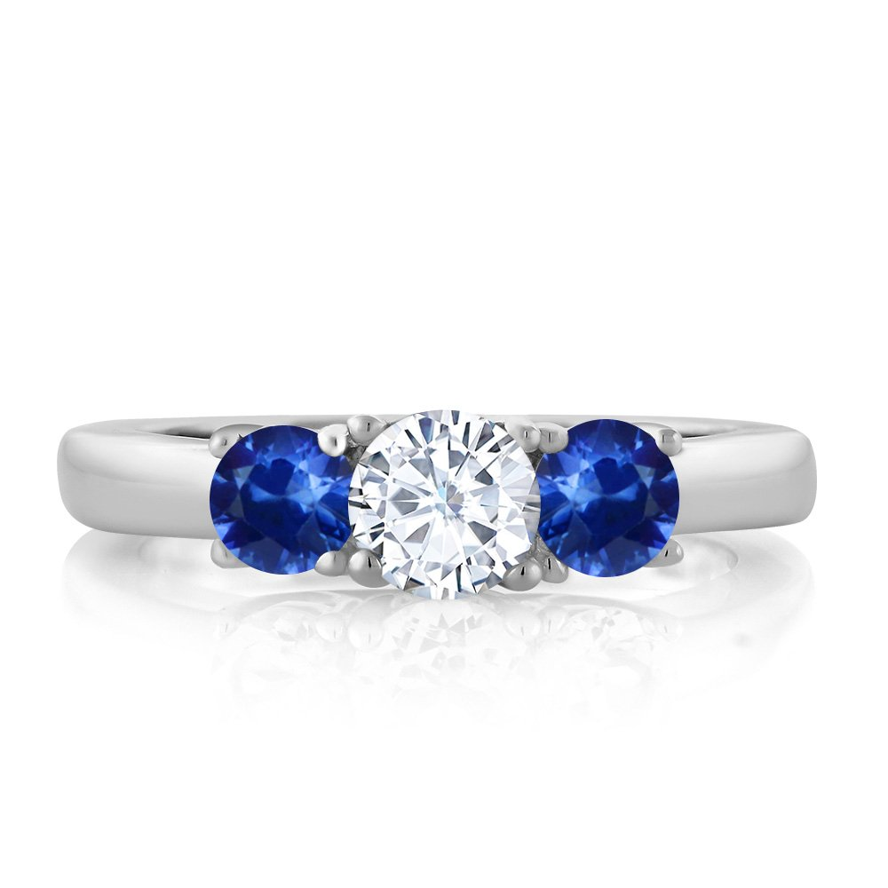 1.22 Ct Round White Created Moissanite Blue Sapphire 925 Sterling Silver Ring (Ring Size 7) by Gem Stone King (Image #1)