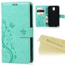 Note 3 Case,Samsung Galaxy Note 3 Case - Mavis's Diary Wallet Embossed Butterflies Flowers Design Folio Flip PU Leather with Stand Magnetic Closure Card Slot Shockproof Soft TPU Inner Cover - Green