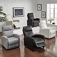 iNSPIRE Q Saipan Modern Fabric and Leatr Recliner Club Chair Modern Dark Grey Linen (Dark Grey)