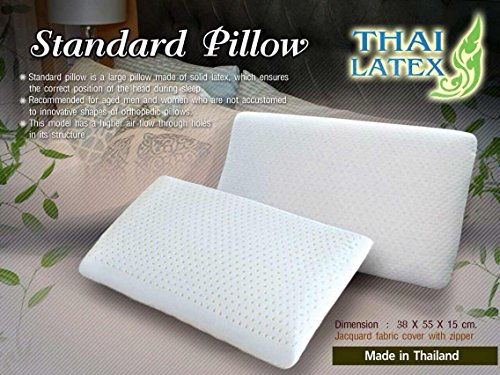 2 X Packs Green Health 100% Natural Latex Pillows Hypoallergenic Natural Latex / Jacuard Fabric Cover with Zipper - Made in Thailand - Standard Pillow Queen Size by THAI LATEX