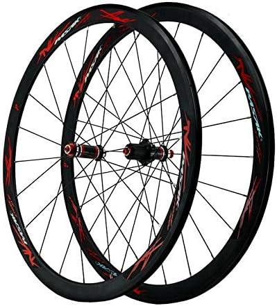 Bike Wheelset 700C自転車ホイール用ロードバイク本体幅40mmダブルウォール合金リムC / Vブレーキ封印されたベアリングカーボンファイバーストレートプルハブQR 7-11スピード (Color : D)