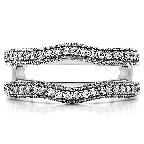 Sterling Silver Contour Ring Guard with Millgrained Edges and Filigree Cut Out Design with Diamonds (G H,I2 I3) (0.48 ct. tw.)