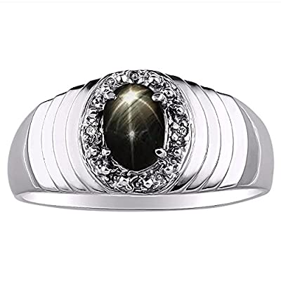 Genuine Diamond & Gorgeous Oval Black Star Sapphire Ring set in Sterling Silver .925 by Rylos