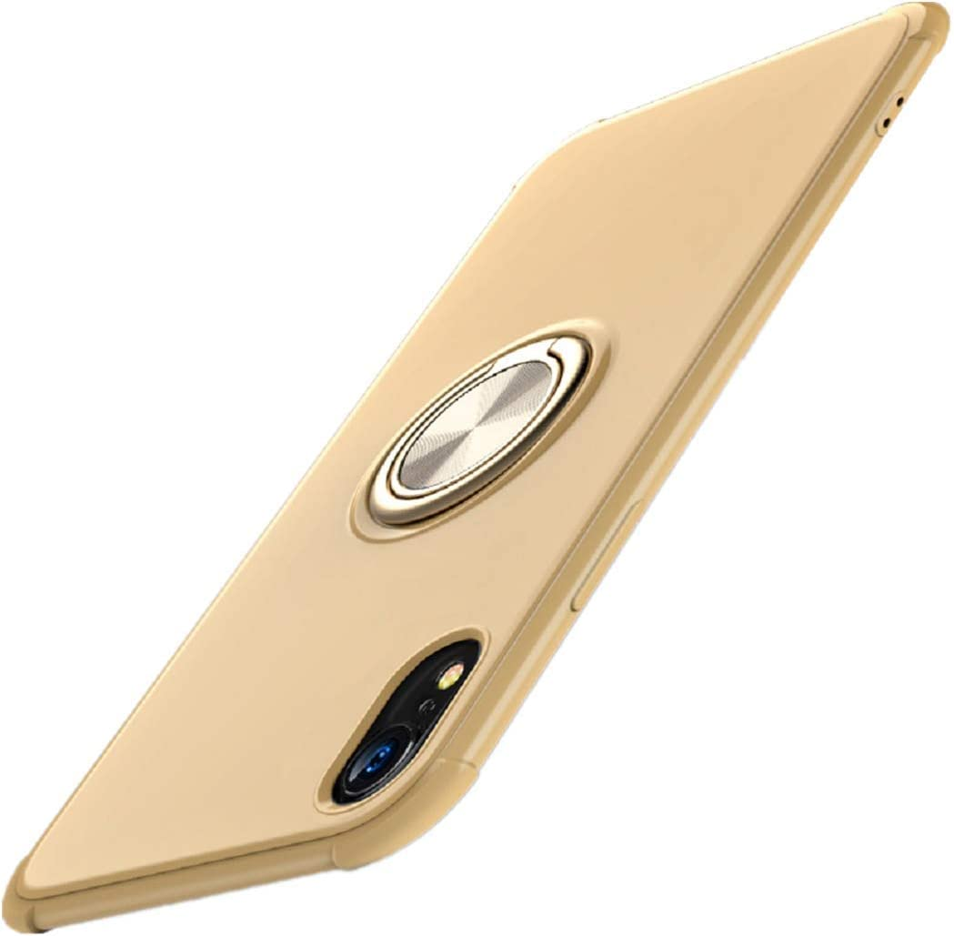 iPhone X//XS, Black for iPhone X//XS|XR|XSMax case Thin Slim Cover with Bumper 360 Degree Rotating Ring Kickstand Case for Magnetic Car Mount