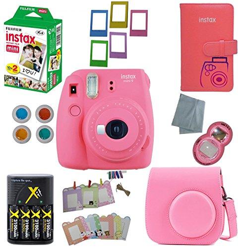 Fujifilm Instax Mini 9 Instant Camera – 10 Pack Camera Bundle Pink (Large Image)