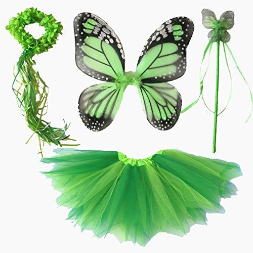 Dreamdanceworks 4 PC Girls Fairy Monarch Princess Costume Set With Wings, Tutu, Wand & Halo (Green) (Tutu Princess Set)