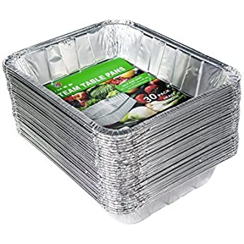 Aluminum Half Size Deep Foil Pan 30 packs 9 x 13 Safe for use in freezer, oven, and steam table.pen,