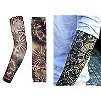 Manga temporal del tatuaje | Falsas tatuajes extraíbles mangas y diseños temp tatto | Ideas del traje de la fiesta de nylon de la etiqueta de Tatoo. Arte corporal hombro completo brazo elástico calcomanías accesorios