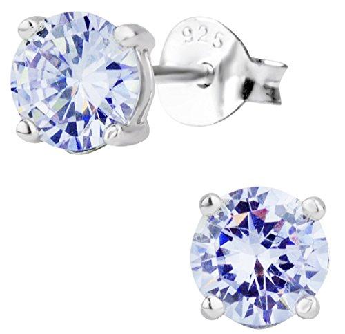 1.7 cttw Sterling Silver Round Cut Deep Set Lavender CZ Stud Earrings