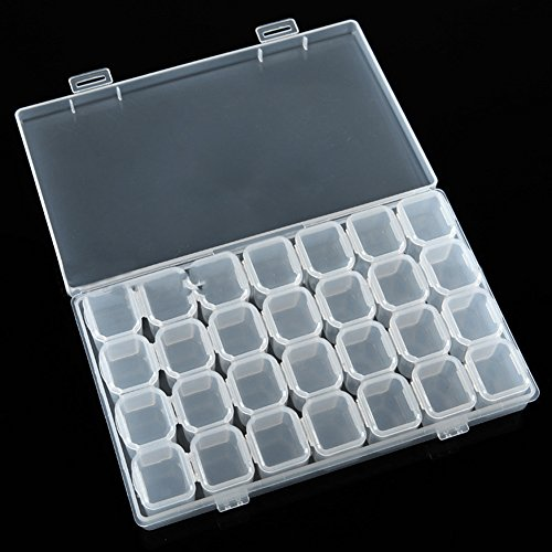 Polytree Removable Clear Plastic 28 Slots Storage Box Organiser Nail Art Rhinestone Jewelry Diamonds Earrings Beads Display Case (Diamond Rings For Nails)