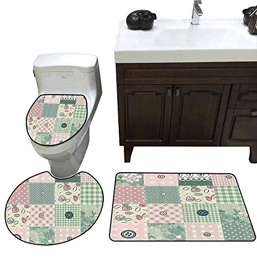 3 Piece Bath mat Set Farmhouse Decor Shabby Pastel Patchwork with Button and Kitsch Polka Dots Composed Print 3 Piece Shower Mat Set Pink Green ()
