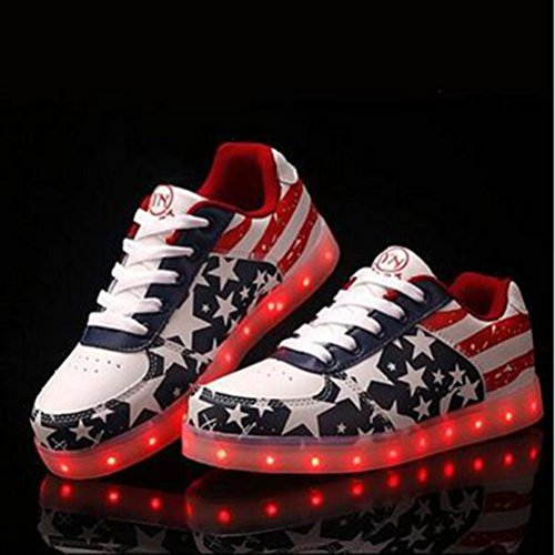 (Present:small towel)JUNGLEST® Unisex Women Men USB Charging LED Luminous American Flag Sport Shoes Fl Red TexnTtrR