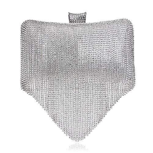 da argento Elegante con banchetto con Personalità Borsa stampato uomo Allhm motivo pochette da per Diamanti donna Tassel TOBpxCqw