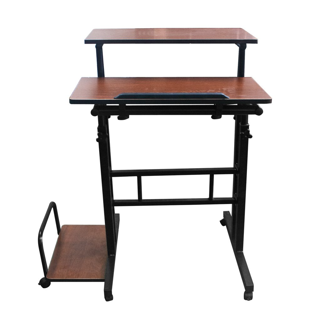 Brown Height Adjustable Multi-Purpose Mobile Podium Lectern and Ergonomic Standing Desk Station (Brown)
