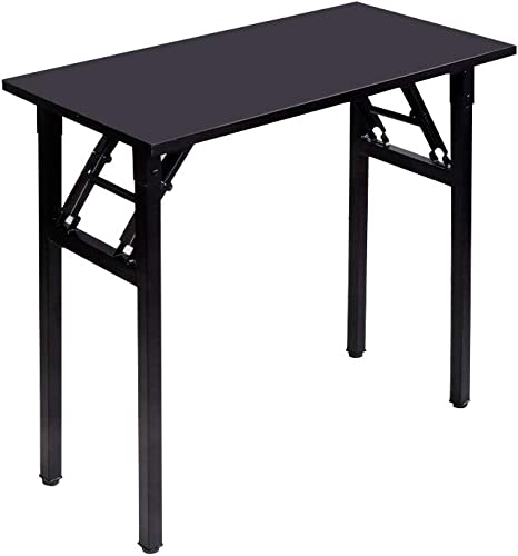 DlandHome 31.5 inches Small Computer Desk for Home Office Folding Table Writing Table for Small Spaces Study Table Laptop Desk No Assembly Required Black DND-AC5CB-8040